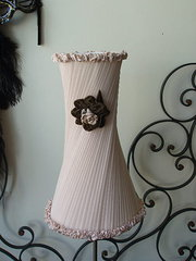 Pink Chiffon pleated lampshade and base