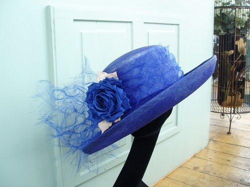 Royal blue Mother of the bride hat