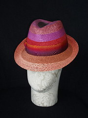 Stripe braid straw trilby