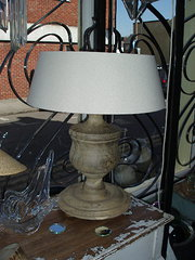Turned French oak lamps