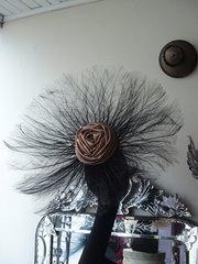 black feather fan hat