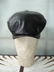 black leather bakerboy cap