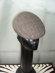 brown check tweed shaped cap