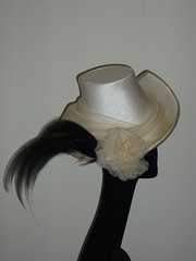 champagne trilby with bird of paradise