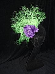 fluorescent green and purple fascinator