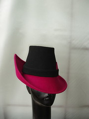 fushia and black pointed trilby