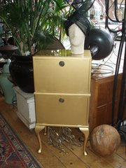 Gold 1930's cabinet with 2 compartments