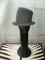 grey wool felt stove pipe top hat