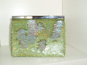 lime green sequin clutch bag
