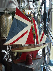 model pond boat with union flag sails