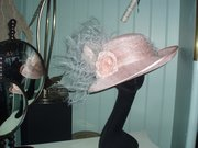 mother of the bride salmon pink hat