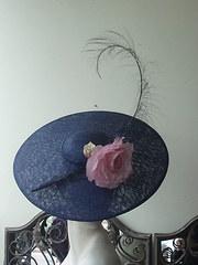 navy disc hat with pink silk flower