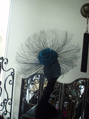 petrol blue/green feather and silk hat