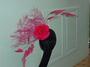 pink flower and feather sculpt