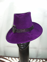 purple trilby black beaded trim