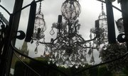 silver frame with glass droplet chandelier
