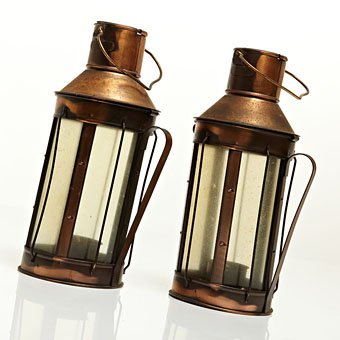 pair of copper lanterns
