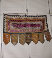 Antique Indian Door Hanging/Toran, embroidered