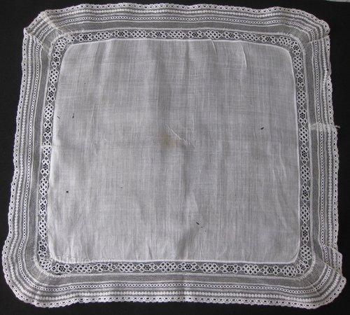 Antique Victorian Handkerchief, lace edged lawn