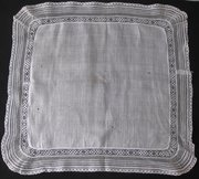 Antique Victorian Handkerchief, lace edged lawn
