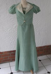Vintage 1930s Silk Dress and Jacket in green check