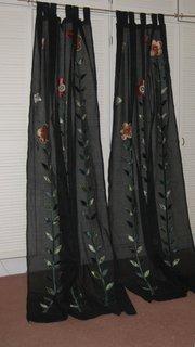 Vintage Curtains, appliqué on cotton, pair
