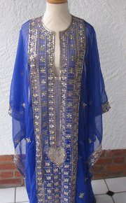 Vintage Indian Silk Robe, gold embroidery sequins