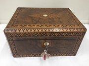 Antique Burr Walnut Jewellery Box circa 1850
