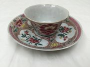 Antique Chinese Famille Rose Tea Bowl & Saucer