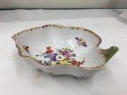 Antique Continental Porcelain Leaf Dish