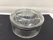 Antique Cut Glass Powder Bowl Silver Rim