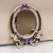 Antique Dresden Encrusted Cherub Mirror circa 1865