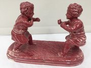 Antique Majolica Pottery Group Boys Boxing c.1865