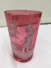 Antique Mary Gregory Enamelled Ruby Glass Tumbler