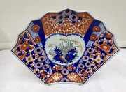 Antique Oriental Japanese Imari Porcelain Fan Dish