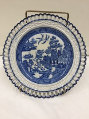 Antique Pearlware Reticulated Willow Pattern Plate