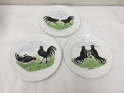 Antique Set 3 Cock Fighting Plates circa 1880