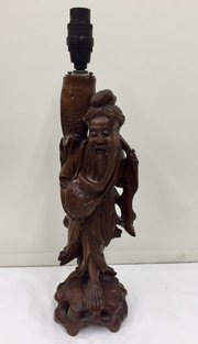 Chinese Carved Hardwood Figurine Lamp
