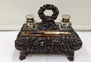Fine Antique Anglo Indian Padouk Wood Inkstand
