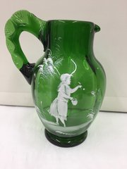 Large Mary Gregory Enamelled Glass Jug