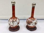 Pair Antique Kuatani Bottle Vases ,  Silver lids