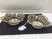 Pair Antique Silver Plated Bon Bon Dish's