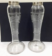 Pair of Etched Glass Vases with Solid Silver Rims