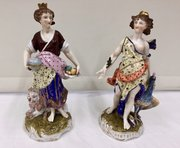 Pr Antique Continental Porcelain Figurines c.1850