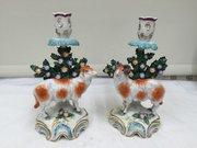 Pr Samson Bocage Sheep Figural Candlesticks