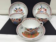 Set 3 Newhall Porcelain Cups & Saucers c.1810