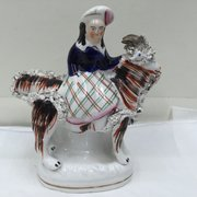 Staffordshire Pottery Girl with Goat Figurine