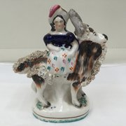 Victorian Staffordshire Pottery Girl With Goat