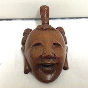 Vintage Caved Hardwood Japanese Mask