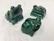 Vintage Set three Carved Malachite Frog Figurines
